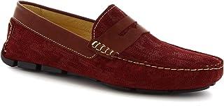 Leonardo Shoes Mocassini Driving Slip-on Artigianali Uomo in camoscio Bordeaux - Codice Modello: 504 Niagara Crust Bordeaux