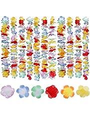 Faburo - 20 collares de flor de estilo hawaiano, multicolor