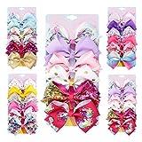 [6-Pcs/Set] 4.7 Inch Sparkle Glitter Mermaid Unicorn Rainbow Hair Bows Clips Accessories for Girls (Model-5)