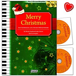 Merry Christmas - Livre de chants de Noël avec 45 chansons (en allemand et anglais) - Légèrement arrangées pour piano, synthétiseur ou guitare - Avec 2 CD et pince à musique en forme de cœur coloré