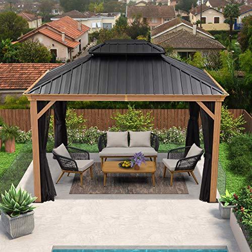 PURPLE LEAF 10' X 12' Outdoor Hardtop Gazebo for Patio Galvanized Steel Double Roof Permanent Canopy Teak Finish Coated Aluminum Frame Pavilion Gazebo with Netting