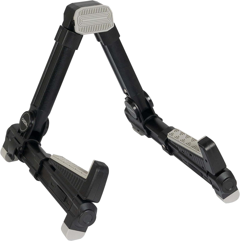 CASCHA - Soporte para ukelele (aluminio ajustable, plegable, forma de A, pies de goma antideslizantes, soporte de aluminio), color negro