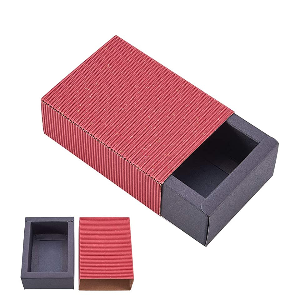 BENECREAT 20 Pack Kraft Paper Drawer Box Festival Gift Wrapping Boxes Soap Jewelry Candy Weeding Party Favors Gift Packaging Boxes - Red & Black (4.4x3.2x1.65)