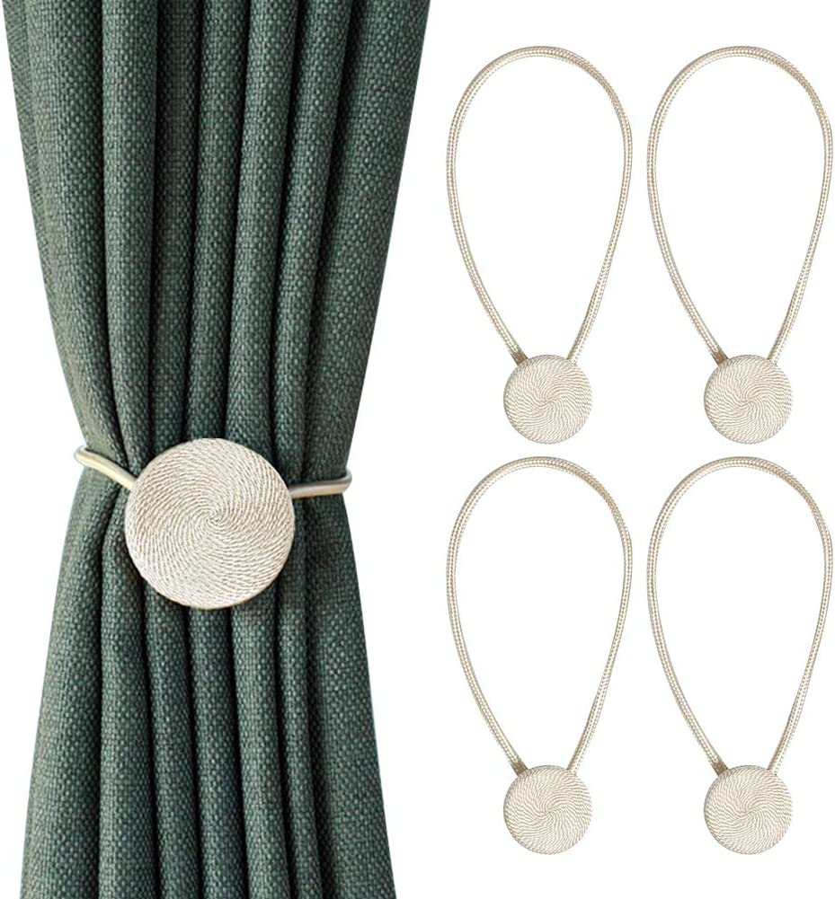 RISHNEG Magnetic Curtain Tiebacks Beige Strong Magnetic Weave Curtain Buckle for Small Thin or Sheer Window Drapries 4 Pack Punch-Free Decorative Curtain Holdbacks