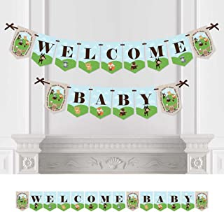 Big Dot of Happiness Woodland Creatures - Baby Shower Bunting Banner - Forest Friends Party Decorations - Welcome Baby