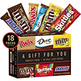 TWIX, SNICKERS, DOVE, M&M'S Milk Chocolate, M&M'S Peanut and SKITTLES Full Size Candy Gift Box, 31.08-Ounce 18 Count Variety Box