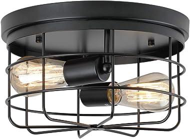 KOONTING 2-Light Industrial Metal Cage Ceiling Light, E26 Rustic Semi Flush Mount Pendant Lighting Lamp Fixture Farmhouse Sty
