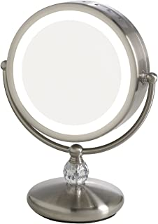 Elizabeth Arden 1x/10X Magnification Lighted Makeup Vanity Counter-Top Mirror w/Touch Screen Control and Adjustable 360-Degree Rotation