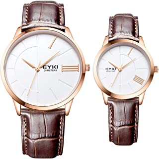 Valentine's Romantic Watch, Set of 2 Simple Crystal Roman Numeral Watches, His and Hers Quartz Analog Wrist Watches Gifts Set for Lovers (Color : Brown)