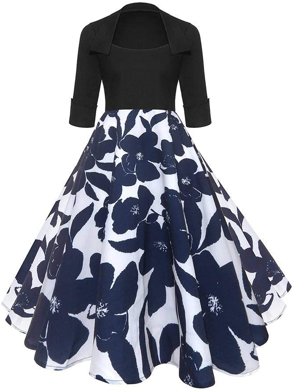 Befily Womens Vintage 50s Floral Print Retro Half Sleeve Swing Tea Dress
