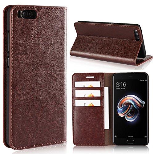 Copmob Funda Xiaomi Mi Note 3,Funda Xiaomi Note 3,Premium Flip Billetera Funda de Cuero,[Función de Soporte][3 Ranura para Tarjeta][TPU a Prueba de Golpes],Carcasa Xiaomi Mi Note 3 - Marron Os