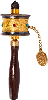 DMtse Tibetan Buddhist Om Mani Padme Hum Functioning Mini Handheld Prayer Wheel with Mantra Scroll