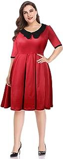 Women's Vintage Half Sleeve Peter Pan Collar Plus Size Party Swing Dresses