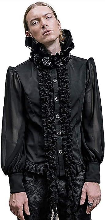 Devil Fashion Hombre Vampiro Gótico Camisa Top Negro Steampunk Vintage Rosa Victoriano