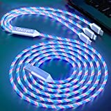 Shining Colorful Light up Led Flowing Candy Party 3 in 1 Multi USB Charger Cable for iOS Phone, Huawei, HTC, LG, Samsung Galaxy, Sony Xperia, Android Type C Devices and More