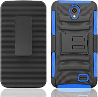 Luckind Case Compatible with Samsung Galaxy Mega 6.3, GT-I9200 I9205 i527 (at&T, Sprint, MetroPCS, U.S. Cellular). Dual Layer Hybrid Side Kickstand Cover Case with Holster Clip (Holster Blue)