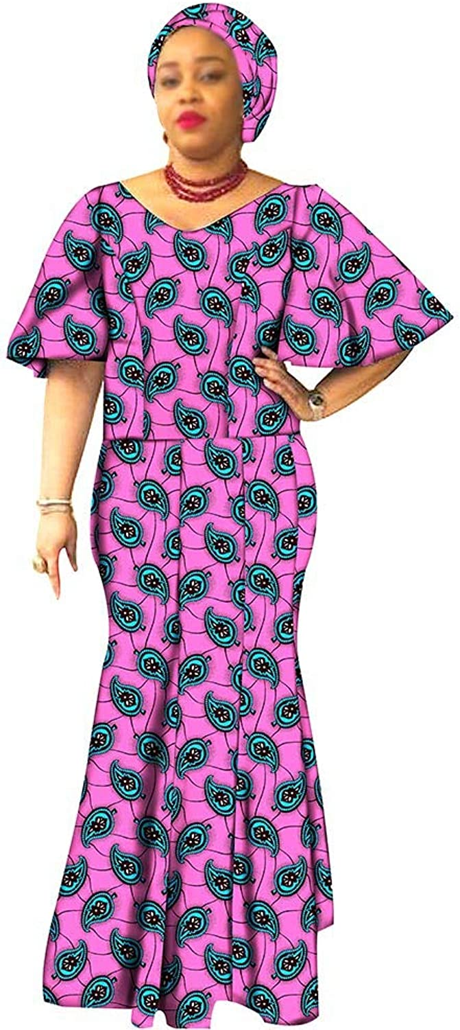 Private afripride African Dresses for Women Dashiki Clothing Ankara Fabric Ball Gown Print Dress+Headwraps