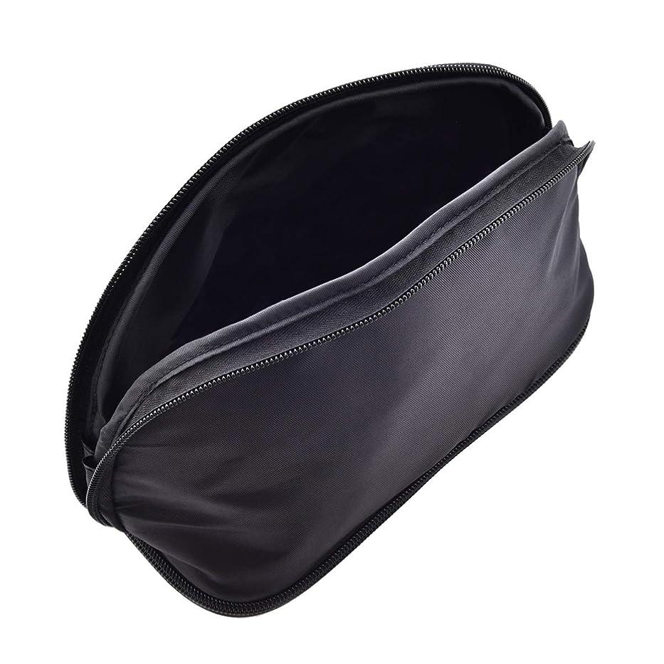 連結する嬉しいです造船Lurrose ブラックpuレザー化粧バッグジッパー付きシンプルな化粧品バッグブラシジュエリーアクセサリー用化粧品旅行バッグ
