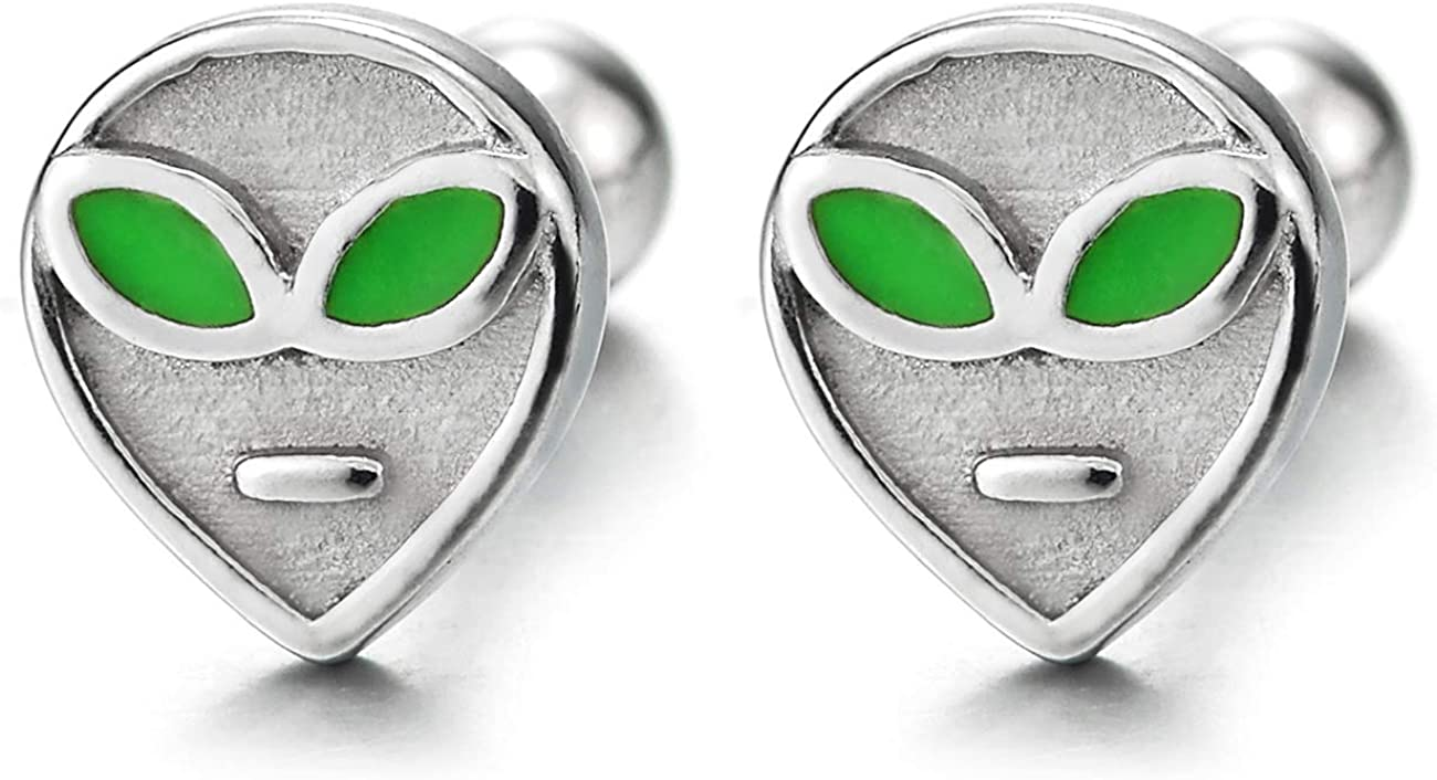 Mens Womens Small Alien Stud Earrings with Green Enamel Eyes, Stainless Steel, Screw Back