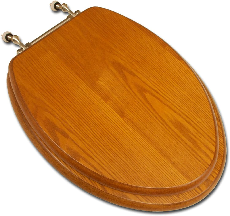 Comfort Seats C1B2E1-17Bn Decorative Oak Wood Elongated Toilet Seat With Brushed Nickel Hinges, Light Oak
