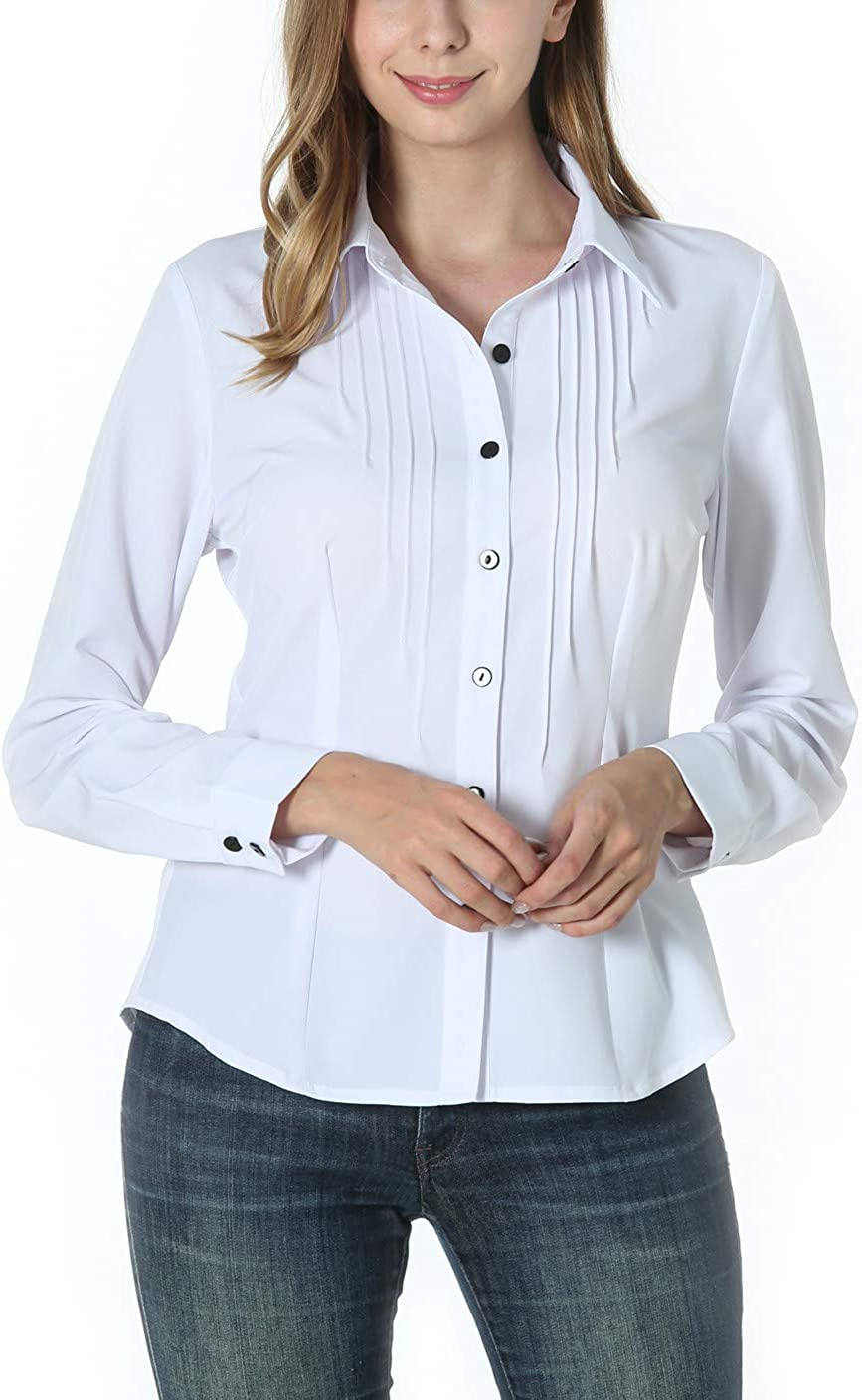 MISS MOLY Women's Long Sleeve White Collar Shirt Button Down V Neck Ruched Front Tops Work Blouse for Office and Casual