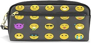 ALAZA Emoji Pencil Case Zipper PU Leather Pen Bag Cosmetic Makeup Bag Pen Stationery Pouch Bag Large Capacity