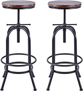 Set of 2-Industrial Bar Stool-Retro 28-34inch Swivel Stools-Extra Tall Kitchen Chair-Bar Counter Height Adjustable-Fully Welded (Black 2PCS)