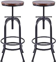topower Taburetes de Bar giratorios de Altura Ajustable de Madera de Pino, Juego de 2 sillas de Comedor de Cocina