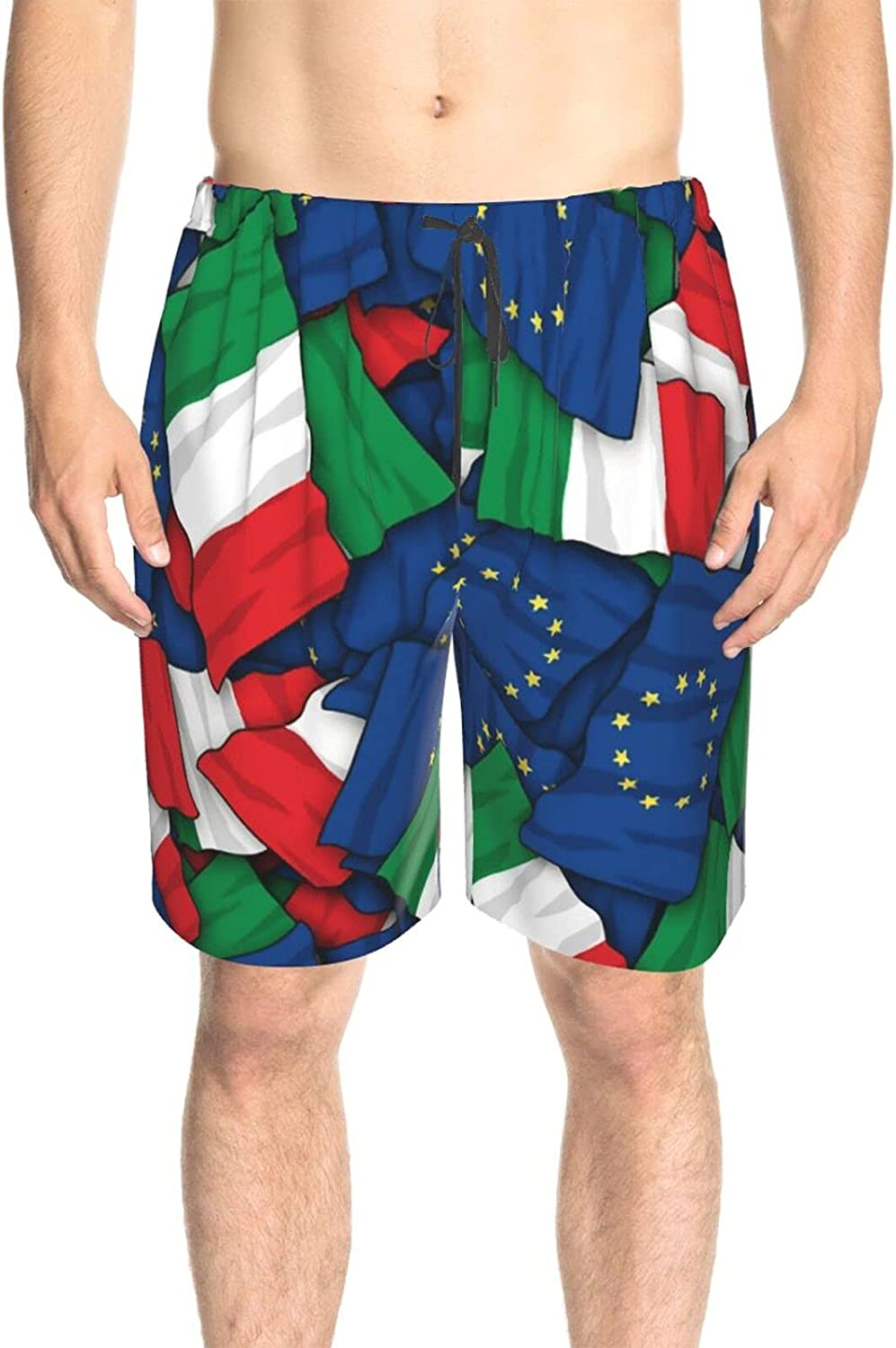 JINJUELS Mens Bathing Suits EU Italy Flag Beachwear Board Shorts Quick Dry Cool Athletic Swimwear Shorts with Mesh Lining