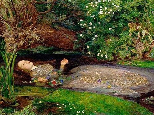 Rahmen Druck auf MDF-John Everett Gemälde Ophelia 80x60 CM Schwarzer Rand
