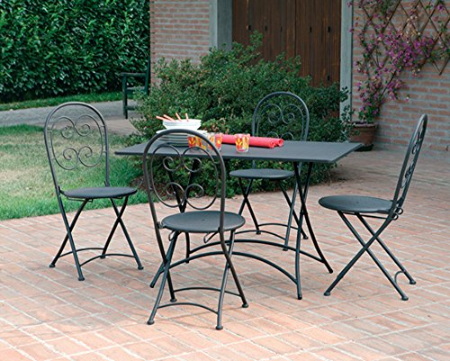 PEGANE Ensemble de Table + 4 chaises Pliante