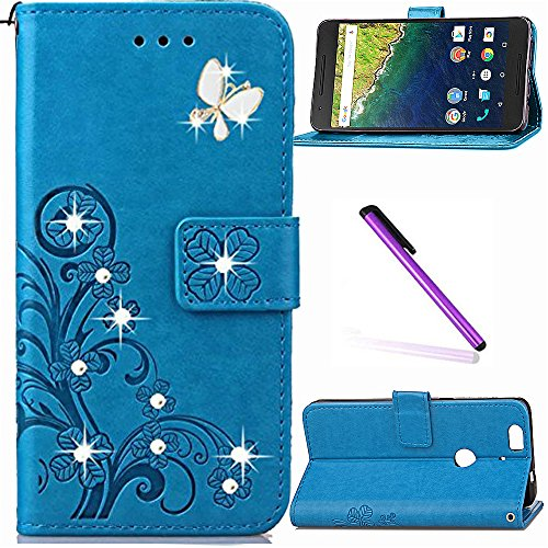 Huawei Nexus 6P Case, Google Nexus 6P Case LEECOCO Bling Crystal Diamonds Lucky Clover Floral with Card Cash Slots Flip Kicktand PU Leather Wallet Slim Case Cover for Nexus 6P Diamond Clover Blue