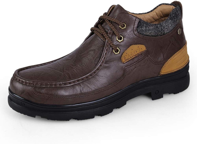 Men's Snow Boots Real Cowhide Fur Suede Lined Winter Waterproof Footwear Lightweight Non-Slip Warm Outdoor Booties Size:38-47