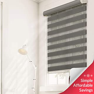 Chicology Free-Stop Cordless Zebra Roller Shades / Combi Blind Curtain Drape, Dual Layer, Sheer or Privacy - Striped Granite, 29