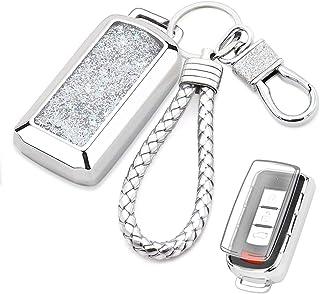 Senauto Quicksand Key Fob Cover Case Keychain for Mitsubishi (Silver)