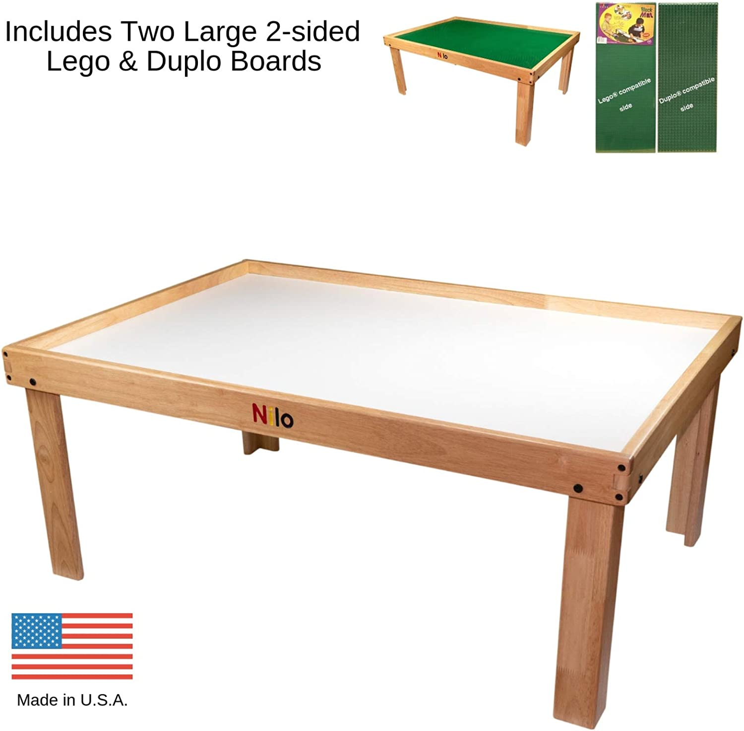 NILO Lego Table with Detachable Two 2Sided Lego & Duplo Baseplates Boards Mats (N34 Activity Table w Holes, 24x32x20 and 2X Green Base Plates 12x32)