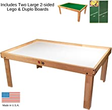 Lego Table with Detachable Two 2-Sided Lego & Duplo Baseplates/Boards/Mats by NILO | (N34N Activity Table No Holes, 24x32x20 and 2X Green Base Plates 12x32)