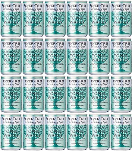 Fever-Tree Refreshingly Light Elderflower Tonic Water, 24 x 150ml (Pack of 3, Total 24 Cans)