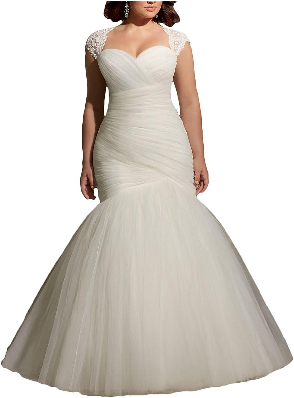 Ri Yun Women's Soft Net Removable Shoulder Cover Pleats Mermaid Wedding Dresses for Bride 2018 with Lace Appliques