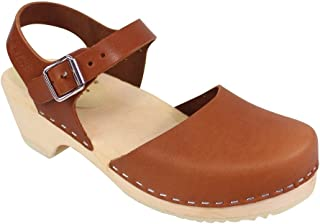 Low Wood Low Heel Clogs in Tan Leather