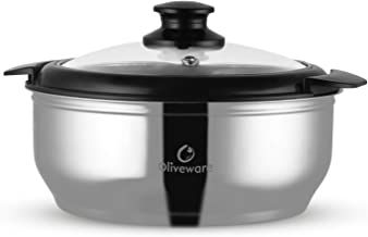 Oliveware Maestro Casseroles   Stainless Steel with Glass Lid   Keeps Chapati, Food Curry Meal Hot & Fresh Meal - Thermosteel & Double Wall Insulation - 2000 Ml