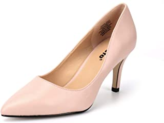 """Kunsto Women's 3"""" Height Heeled Pointed Toe Pumps Shoes"""