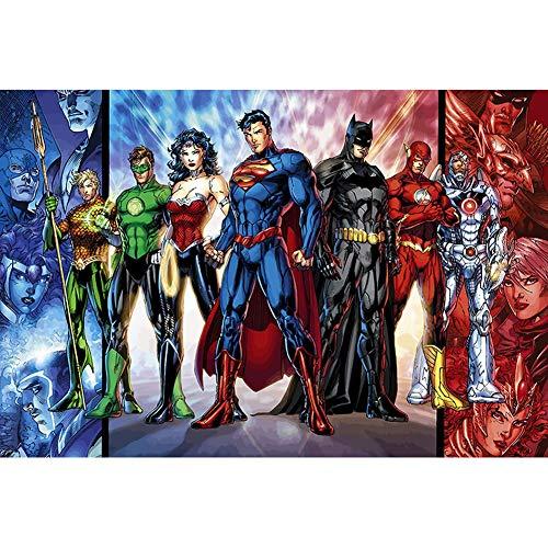 YUX Liga de la Justicia Rompecabezas 300/500/1000 Piezas for Adultos de los niños de Madera DC Batman Superman Mujer Maravilla Rompecabezas Juguetes, 3 Estilos R/616 (Color : B, Size : 300 Pieces)