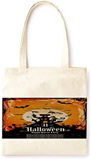 Cotton Canvas Tote Bag Modern Bat Ancient Castle Moon Retro Style Night Halloween Ancient Castle Party Printed Casual Large Shopping Bag for School Picnic Travel Groceries Books Handbag Design