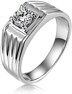 Adokiss - Anello da uomo in oro bianco 14 carati, con 4 griffe in moissanite, anello da uomo, oro bianco, misura 65 (20,7)...