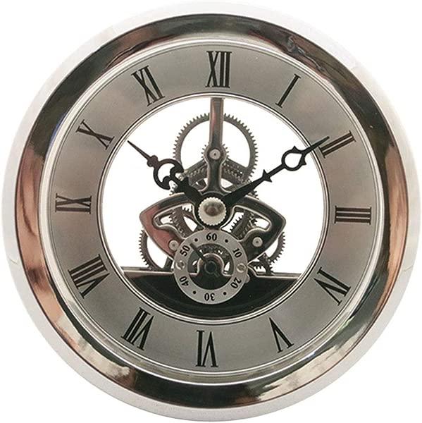 Fityle Quartz Clock Fit Up Insert With Roman Numeral Quartz Movement Silver Trim