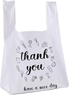 Foraineam 500 Ct Plastic Bags Thank You Reusable Grocery Bag - 13 x 7 x 21 inch, 15 mic, 0.6 mil T-shirts Carryout Shoppin...