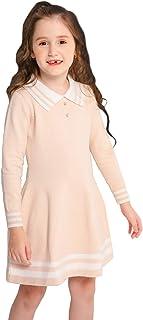 SMILING PINKER Girls Uniform Dresses Long Sleeve School Polo Striped Knit Sweater Dress