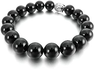 Men Women's 10mm 12mm Alloy Bracelet Link Wrist Agate Onyx Gemstone Buddha Mala Beads, Black Silver