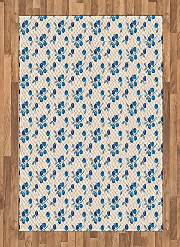ABAKUHAUS Botanique Tapis Tissé à Plat, Fruit Montagne Blueberry, Salle de Séjour Chambre à Coucher Salle à Manger, 120 x 180 cm, Beige Bleu Cobalt Plum